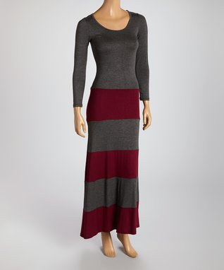 American Twist Taupe & Black Color Block Scoop Neck Maxi Dress