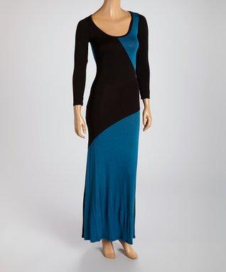 American Twist Charcoal & Burgundy Bold Stripe Maxi Dress
