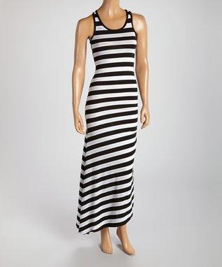 American Twist Blue & Black Color Block Scoop Neck Maxi Dress