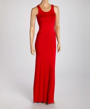 American Twist Red Classic Scoop Neck Maxi Dress