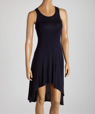American Twist Navy Hi-Low Midi Dress
