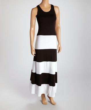American Twist Black & White Color Block Stripe Maxi Dress