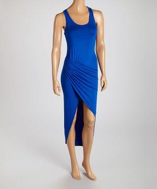 American Twist Royal Blue Draped Scoop Neck Maxi Dress