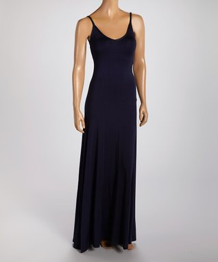 American Twist Navy V-Neck Maxi Dress