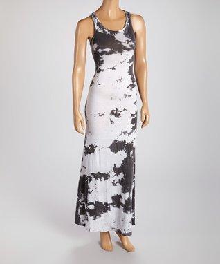 American Twist White & Black Tie-Dye Maxi Dress