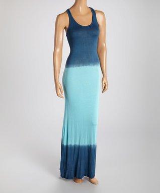 American Twist Blue & Mint Racerback Maxi Dress
