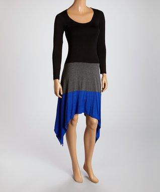 American Twist Gray & Black Sidetail  Dress
