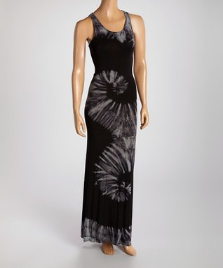 American Twist Black Swirl Tie-Dye Maxi Dress