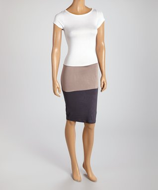 American Twist White & Mocha Panel Scoop Neck Dress