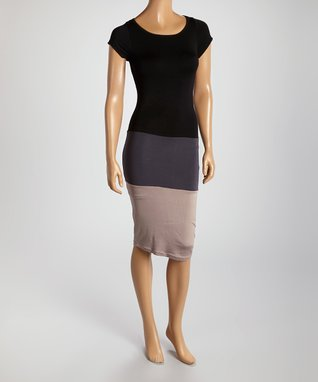 American Twist Black & Mocha Panel Scoop Neck Dress