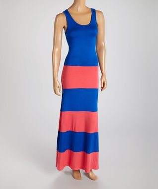 American Twist Royal Blue & Coral Stripe Maxi Dress