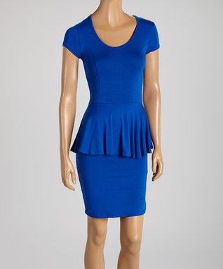 American Twist Royal Blue Ruched Scoop Neck Maxi Dress
