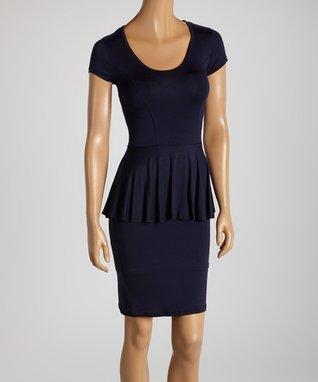 American Twist Navy Peplum Dress