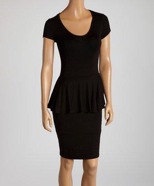 American Twist Black Peplum Dress