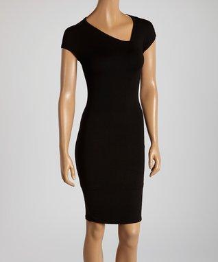 American Twist Black & White Panel Scoop Neck Dress