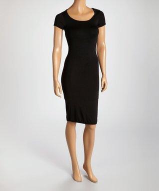American Twist Black Embellished Scoop Neck Dress