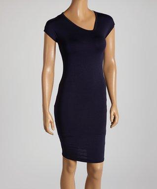 American Twist Black Drape Neck Dress