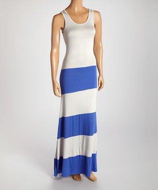 American Twist Silver & Violet Stripe Maxi Dress