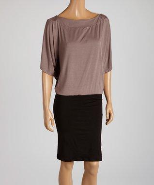 American Twist Brown & Black Blouson Dress