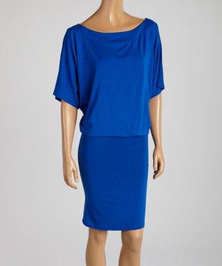 American Twist Royal Blue Blouson Dress