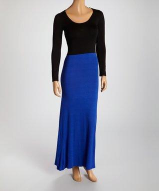 American Twist Charcoal & Black Color Block Scoop Neck Maxi Dress