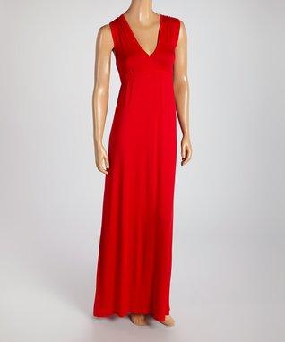 American Twist Coral & Black Raglan Maxi Dress