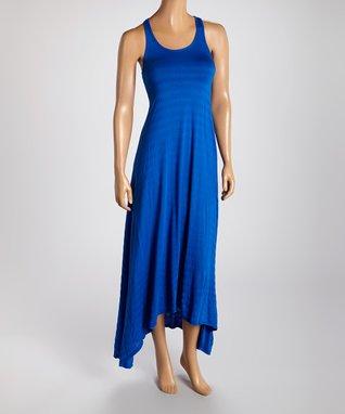 American Twist Royal Blue Flutter Racerback Maxi Dress