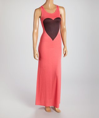 American Twist Coral & Black Heart Scoop Neck Maxi Dress