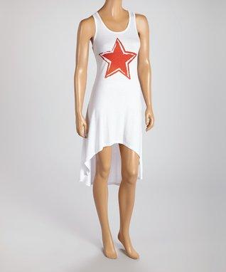 American Twist White & Red Broken Heart Hi-Low Maxi Dress