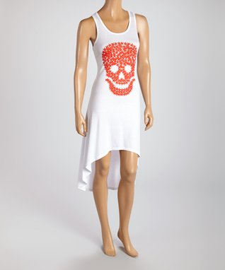 American Twist White & Red Skull Hi-Low Maxi Dress