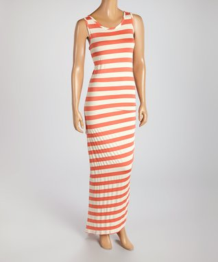 American Twist Coral & Red Heart Scoop Neck Maxi Dress