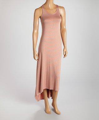 American Twist Coral & Ivory Horizontal Stripe Maxi Dress