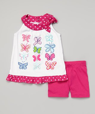 Dark Pink Butterfly Tank & Shorts - Infant & Toddler