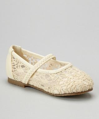 Beige Strappy Crocheted Flat
