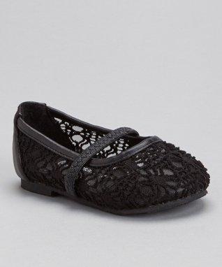 Black Strappy Crocheted Flat