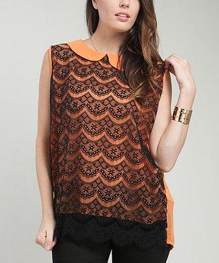Orange Vintage Lace Sleeveless Top - Plus