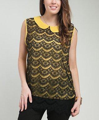Yellow Vintage Lace Sleeveless Top - Plus