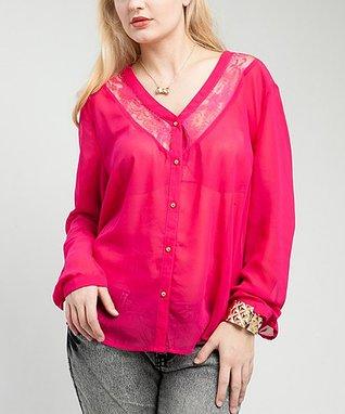 Beige Lace Button-Up Top - Plus