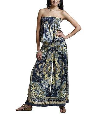 Black Arabesque Shirred Strapless Jumpsuit