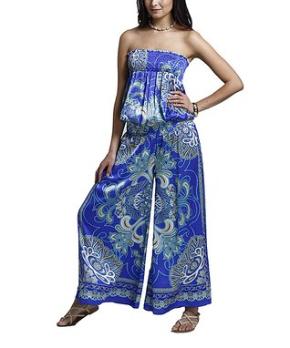 Blue Arabesque Shirred Strapless Jumpsuit