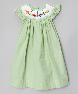 Green Fish Smocked Angel-Sleeve Dress - Infant, Toddler & Girls