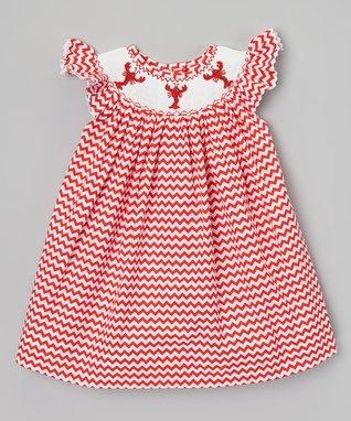 Red Zigzag Crawfish Smocked Dress - Infant, Toddler & Girls