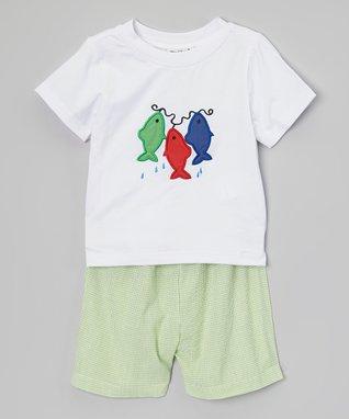 White Fish Appliqué Tee & Seersucker Shorts - Infant & Toddler