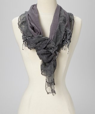 Black & Gray Branches Lace Shawl Scarf