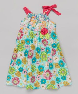 Mia Belle Baby Blue & Red Stripe Maxi Dress - Toddler & Girls