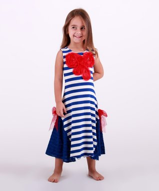Mia Belle Baby Navy & White Lace Maxi Dress - Toddler & Girls