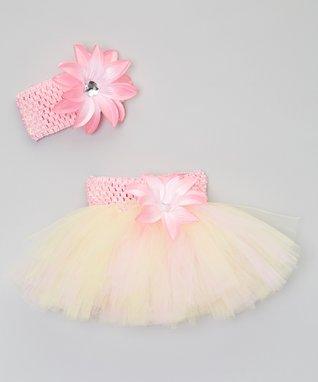 Pink & Yellow Flower Tutu & Headband - Infant, Toddler & Girls