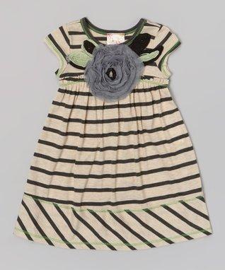Oatmeal & Charcoal Stripe Rosette Dress - Toddler