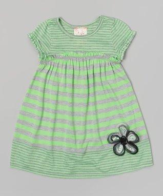 Lime Stripe Flower Ruffle Dress - Toddler & Girls