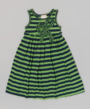 Lime & Navy Stripe Bow Ruffle Dress - Girls
